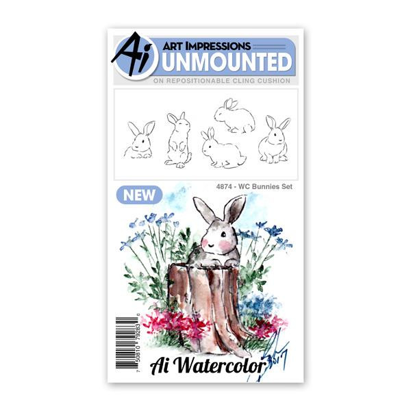 Watercolor Bunnies, Art Impressions Cling Stamps - 750810792830
