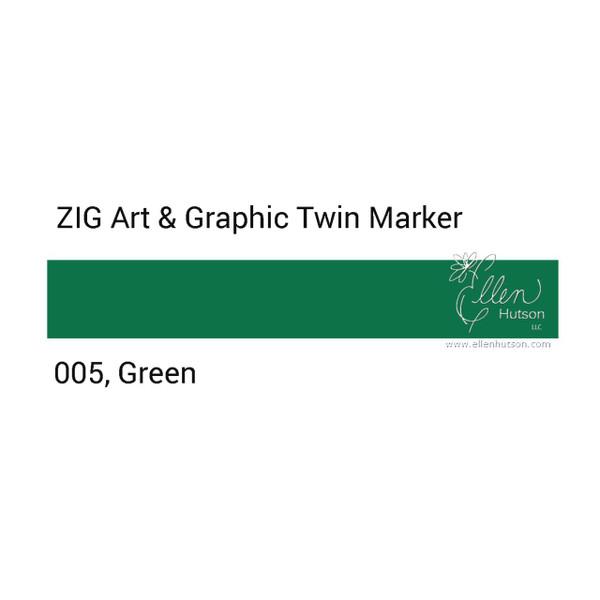 Zig Art & Graphic Twin Tip Marker, Green - 847340015604