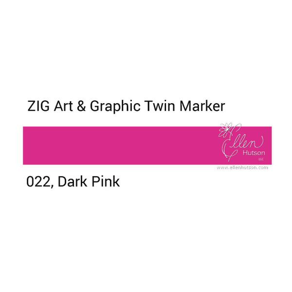 Zig Art & Graphic Twin Tip Marker, Dark Pink - 847340015697
