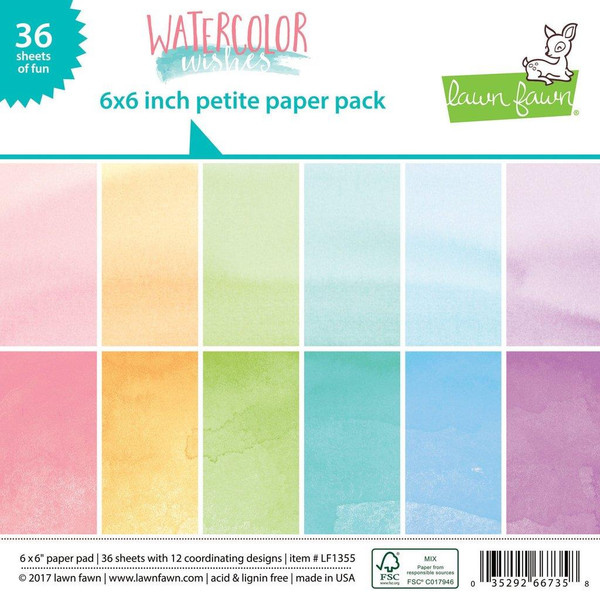 Lawn Fawn Petite Paper Pack, Watercolor Wishes -