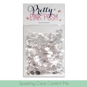Pretty Pink Posh Sequins, Sparkling Clear Confetti Mix -