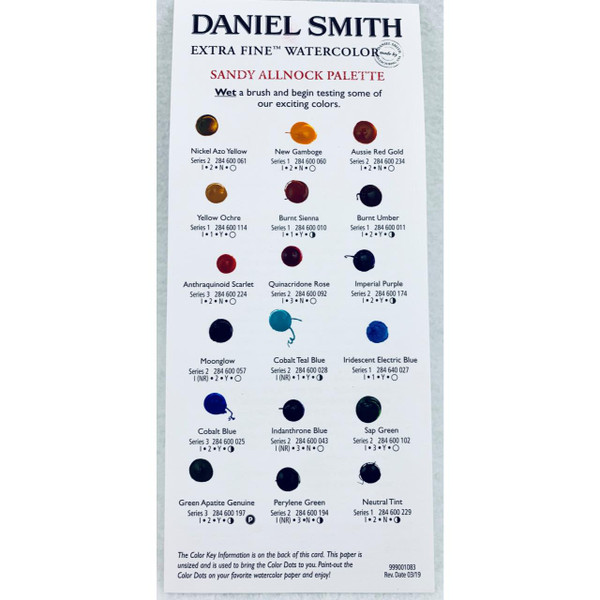 DANIEL SMITH Extra Fine Watercolor Dot Chart, Sandy Allnock Palette -