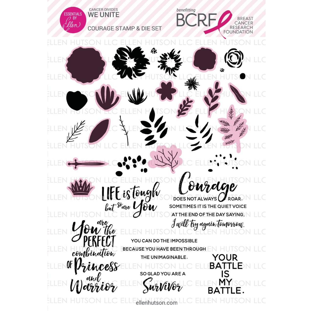 Courage Stamp & Die Set (Fundraiser for Breast Cancer Research Foundation), Essentials by Ellen -
