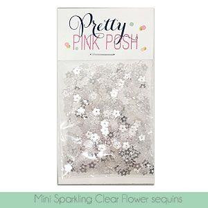 Pretty Pink Posh Sequins, Mini Sparkling Clear Flowers -