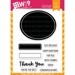 Wplus 9 Design Studio Clear Stamps, Basic Labels -
