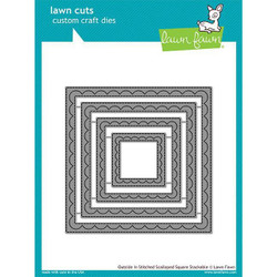 Lawn Cuts Dies, Outside In Stitched Scalloped Square Stackables - 035292668690