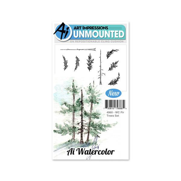 Watercolor Fir Trees, Art Impressions Cling Stamps - 750810793684