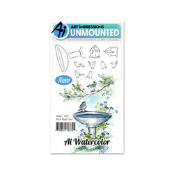 Watercolor Bird Bath, Art Impressions Cling Stamps - 750810793745