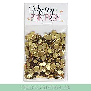 Pretty Pink Posh Sequins, Metallic Gold Confetti Mix -
