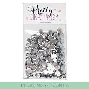 Pretty Pink Posh Sequins, Metallic Silver Confetti Mix -