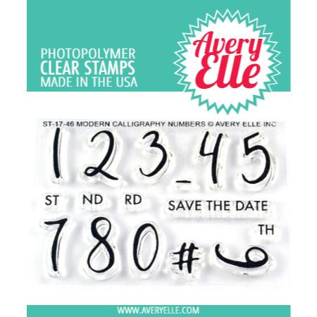 Avery Elle Clear Stamps, Modern Calligraphy Numbers - 811568026063