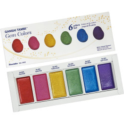 Kuretake Gansai Tambi Gem Colors, 6 Color Set -