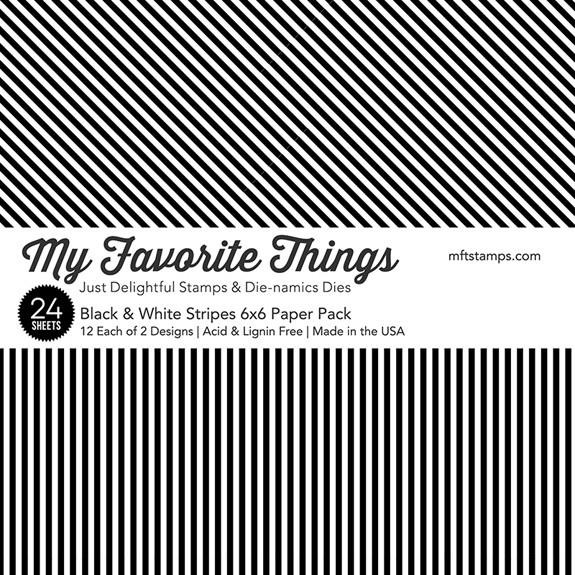My Favorite Things Paper Pack, Black & White Stripes - 849923023419