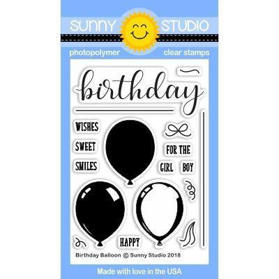 Sunny Studio Stamps Clear Stamps, Birthday Balloons - 0649964636087