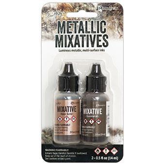 Ranger Tim Holtz Alcohol Ink Metallic Mixatives, Gunmetal/Rose Gold -