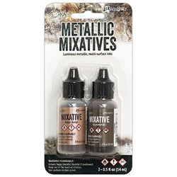 Ranger Tim Holtz Alcohol Ink Metallic Mixatives, Gunmetal/Rose Gold -