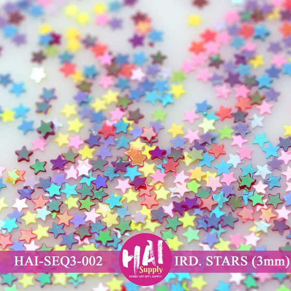 HAI Sequins, 3mm Iridescent Stars -