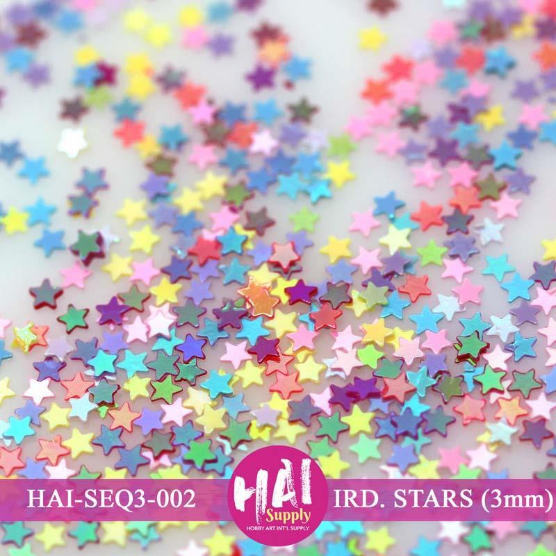 HAI Sequins, 3mm Iridescent Stars -