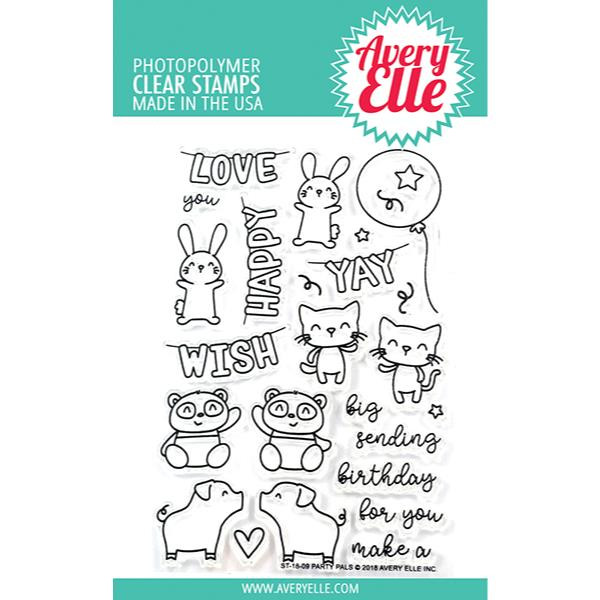 Avery Elle Clear Stamps, Party Pals - 811568026230