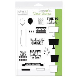 Gina K Designs Stamp N Foil Clear Stamps, Time To Celebrate - 000943180791