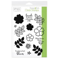 Gina K Designs Stamp N Foil Clear Stamps, Where Flowers Bloom - 000943180807