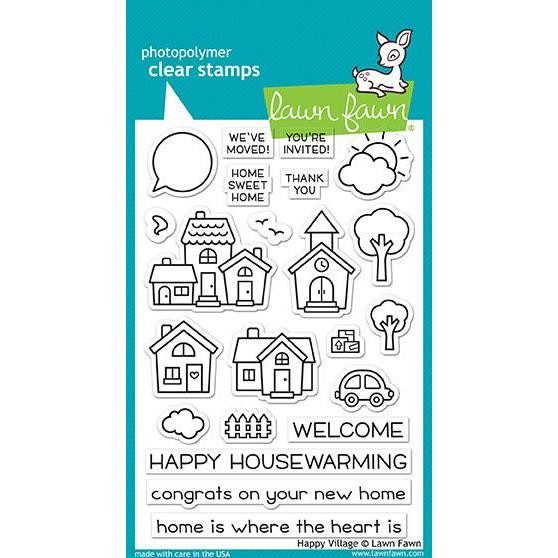 Lawn Fawn Clear Stamps, Happy Village - 035292669444