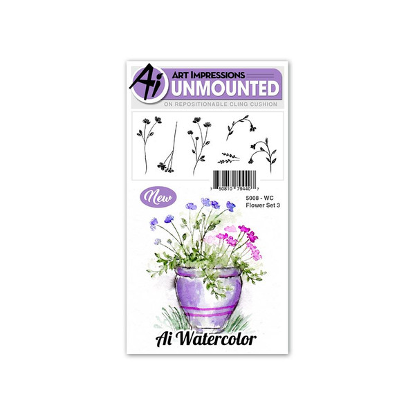 Art Impressions Cling Stamps, Watercolor Flower Set 3 - 750810794407