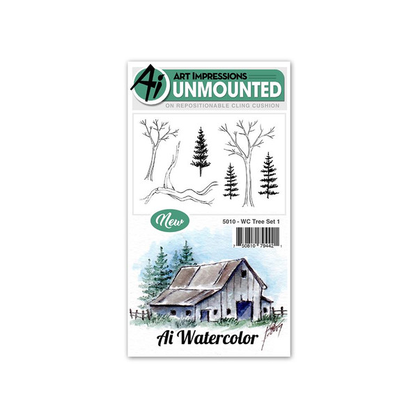 Watercolor Tree Set 1, Art Impressions Cling Stamps - 750810794421