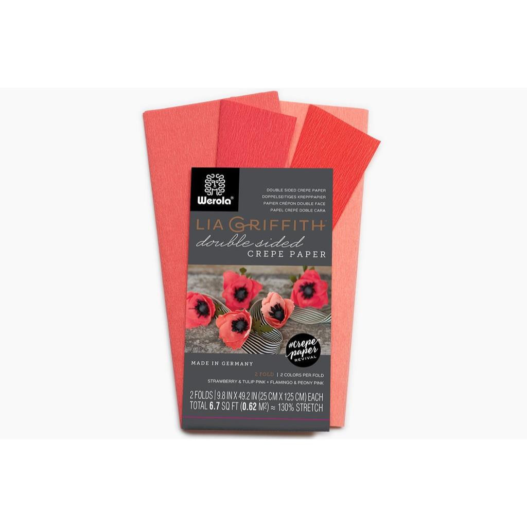 Lia Griffith Double Sided Crepe Paper, Strawberry & Tulip Pink + Flamingo & Peony Pink - 190705000587