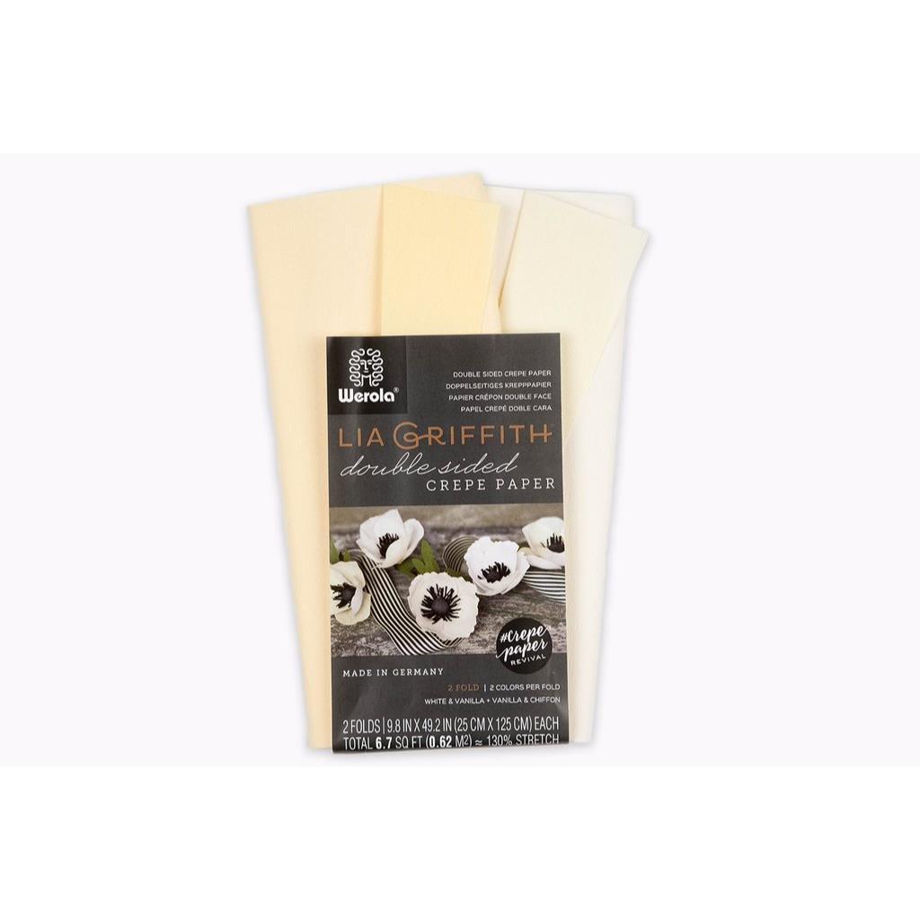 Lia Griffith Double Sided Crepe Paper, White & Vanilla + Vanilla & Chiffon - 190705000716