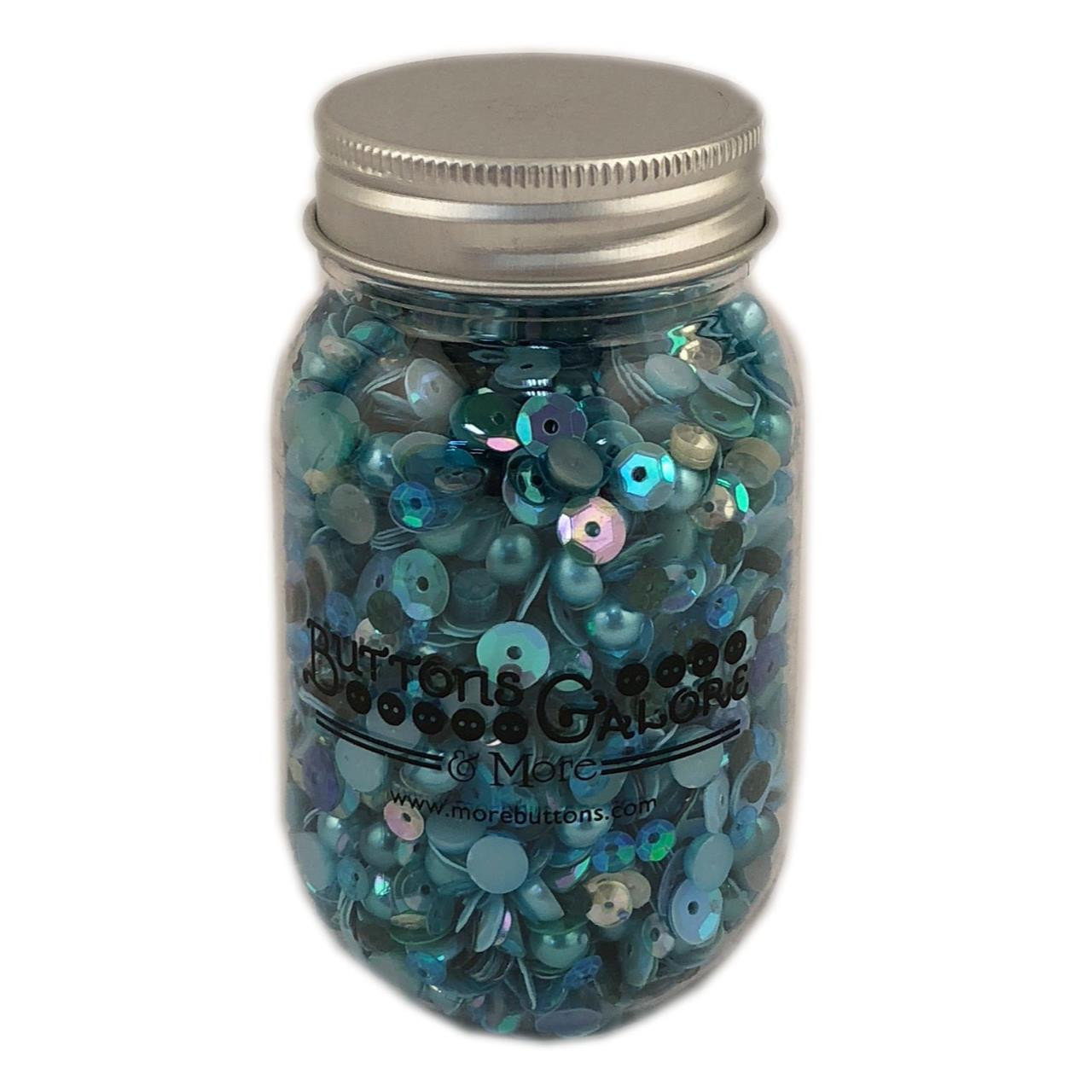 Buttons Galore Sequin Party Mix, Aquamarine -
