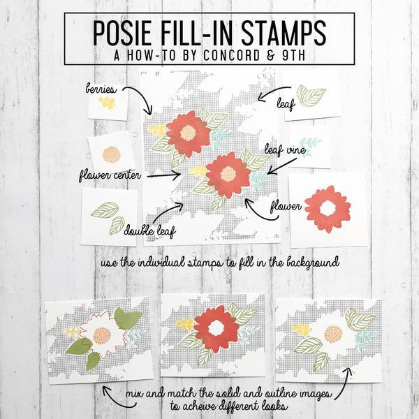 Concord & 9th Clear Stamps, Posie Fill-In - 902223987956
