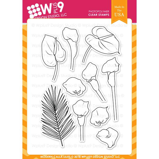 W Plus 9 Design Studio Clear Stamps, Modern Calla Lilies -