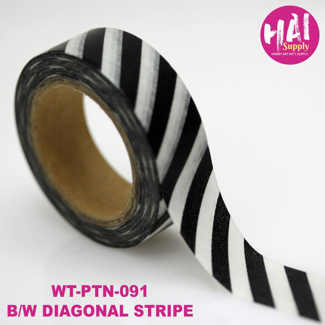Black and White Diagonal Stripe, HAI Washi Tape -