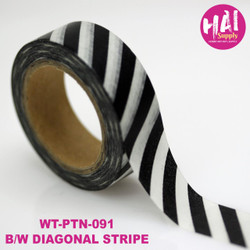 Black and White Diagonal Stripe, HAI Washi Tape -