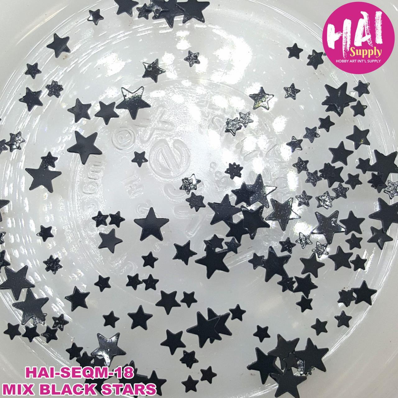 HAI Sequins, Black Stars -