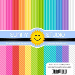 Sunny Studio 6 X 6 Paper Pad, Striped Silly - 649964636438