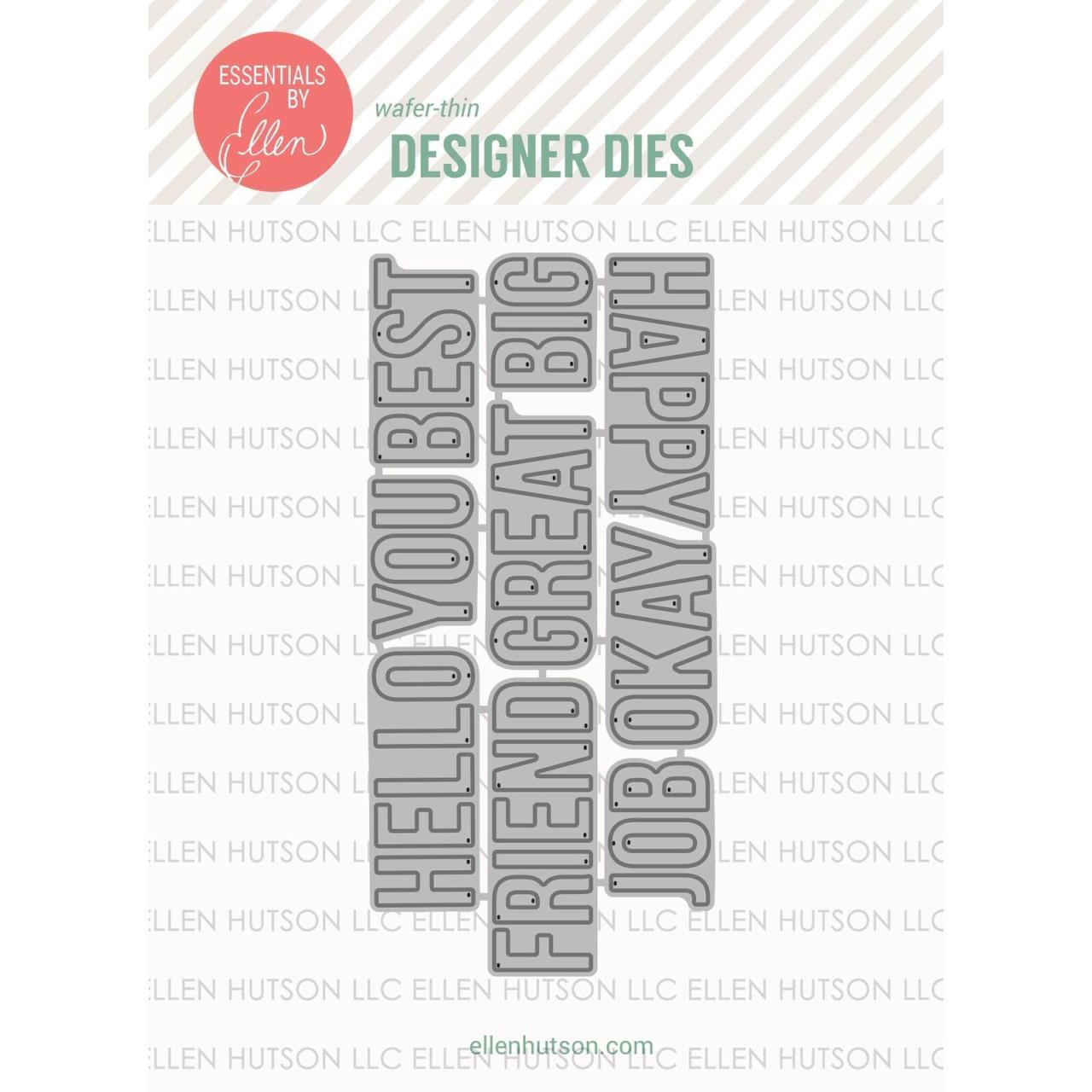 Block Words by Julie Ebersole, Essentials By Ellen Designer Dies -
