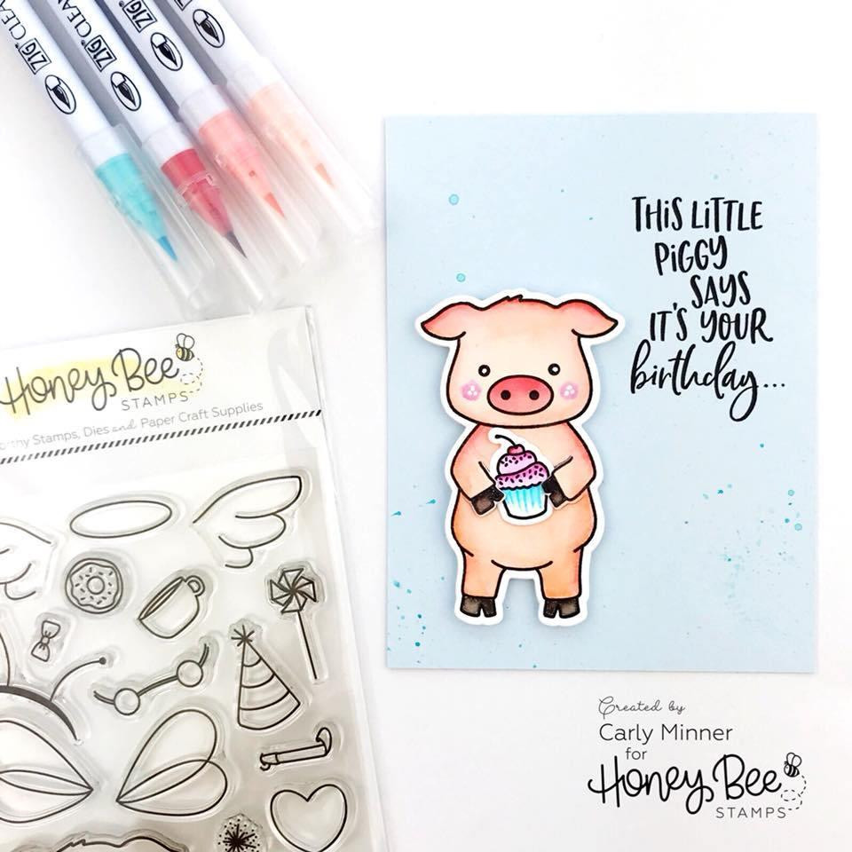 Honey Bee Clear Stamps, Pinky The Pig - 652827597920