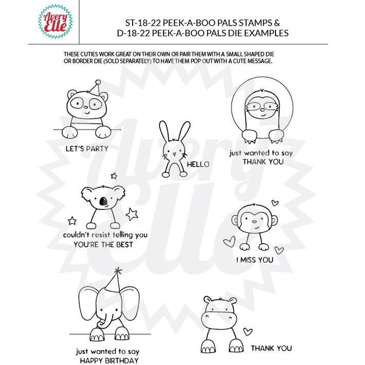 Avery Elle Clear Stamps, Peek-A-Boo Pals - 811568026568