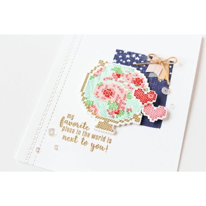 United We Flourish Stamp & Die Combo, Stitched Together by Waffle Flower -