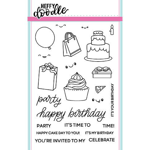Heffy Doodle Clear Stamps, Party Palooza - 5060540220592