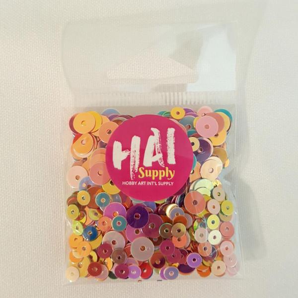 Round Iridescent Rainbow Mix, HAI Sequins -