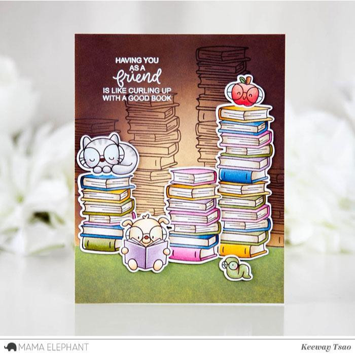 Mama Elephant Clear Stamps, Bookworm -