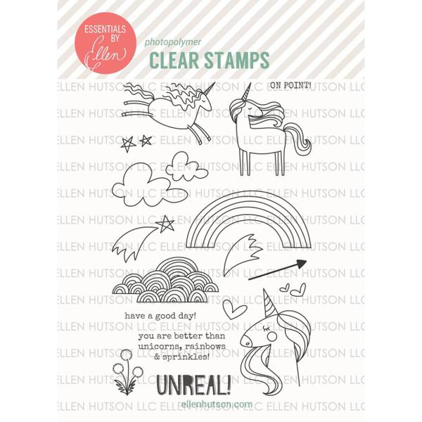 Unicorns 'N Rainbows By Julie Ebersole, Essentials By Ellen Clear Stamps -