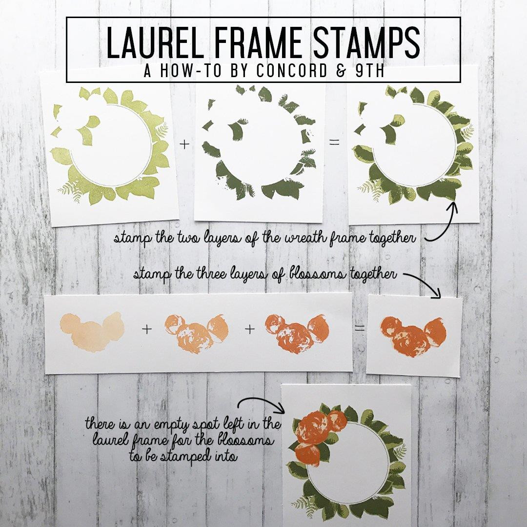 Concord & 9th Clear Stamps, Laurel Frame - 902223991052