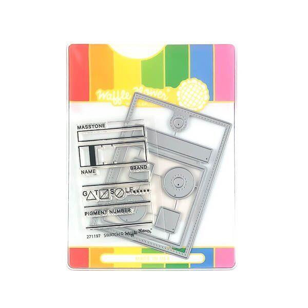 Waffle Flower Stamp & Die Combo, Swatch Tag -