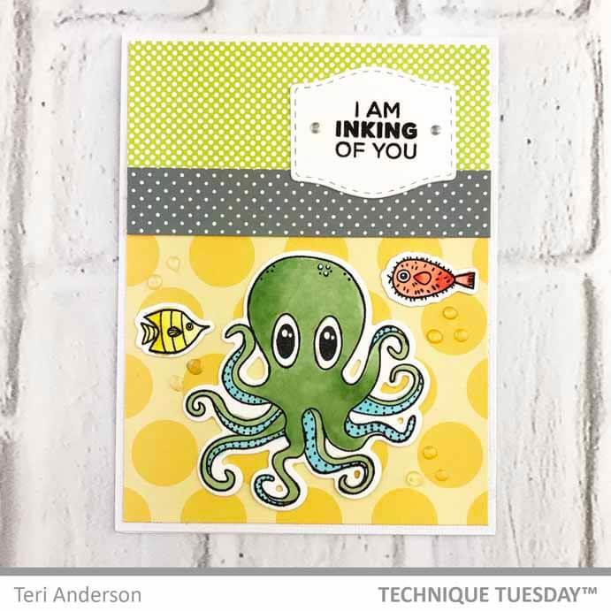 Olive The Octopus -Animal House August 2018, Technique Tuesday Clear Stamps - 811784026960