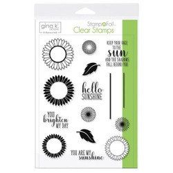 Gina K Designs Stamp N Foil Clear Stamps, Graphic Sunflowers - 000943181057