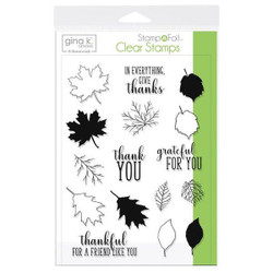 Gina K Designs Stamp N Foil Clear Stamps, Thankful Leaves - 000943181064